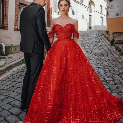 Gorgeous Red Off Shoulder Sequins Evening Maxi Dress Party Dress_2
