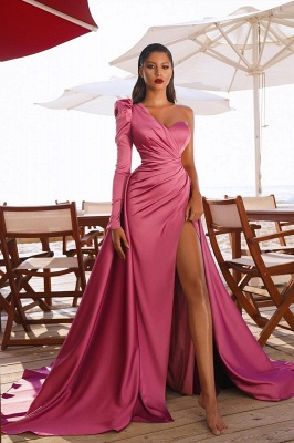 Sexy One Shoulder Satin  Evening Maxi Gowns with Sweep Train Side Split Party Dress_2