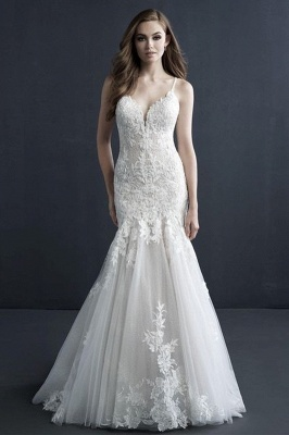 Elegant White Floral Lace Appliques Mermaid Wedding Gown Tulle Sleeveless Garden Bridal Gown