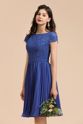 Elegant Short Sleeve Aline Mini Party Dress Royal Blue Daily Casual Dress