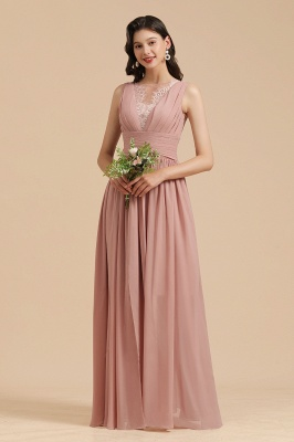 Elegant Sleeveless Aline Chiffon Wedding Party Dress Simple Bridesmaid Dress