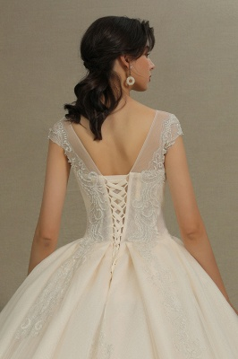 Gorgeous Cap Sleeves Aline Tulle Lace Ball Gown Floor-Length Garden Bridal Gown_8