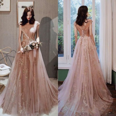 Stylish Cap Sleeve Gold Floral Aline Evening Dress Floor  Length Swing Party Dress