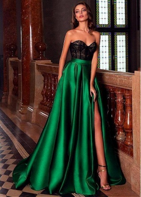 Stylish Sweetheart Sleeveless Aline Satin Evening Party Dress Side Slit