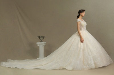 Gorgeous Cap Sleeves Aline Tulle Lace Ball Gown Floor-Length Garden Bridal Gown_6