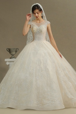 Gorgeous Cap Sleeves Aline Tulle Lace Ball Gown Floor-Length Garden Bridal Gown_5