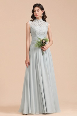 Sleeveless Grey Chiffon Bridesmaid Dress Floor Length Wedding Party Dress