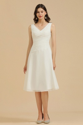 White Ruffle Chiffon Mini Daily Casual Dress Sleeveless Knee Length Short Party Dress