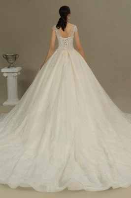 Gorgeous Cap Sleeves Aline Tulle Lace Ball Gown Floor-Length Garden Bridal Gown_7