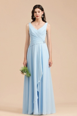 V-Neck Sky Blue Bridesmaid Dress V-Neck Aline Wedding Party Dress