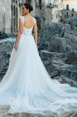 Stylish Sleeveless White Aline Tulle Wedding Dress Lace Bridal Dress_5
