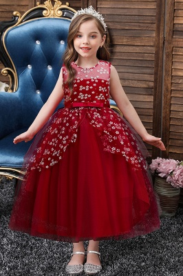 Scoop Neck Sleeveless long lace flower girl dresses