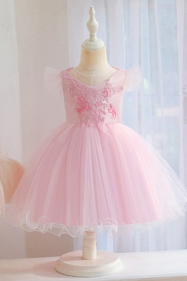 Romontic Sleeveless Pink Lace Tulle Flower Girl Dress
