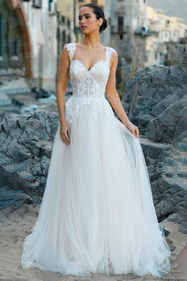 Stylish Sleeveless White Aline Tulle Wedding Dress Lace Bridal Dress_4