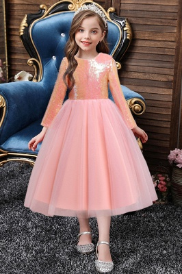 Shinny long sleeve lace flower girl dress tulle girls dress