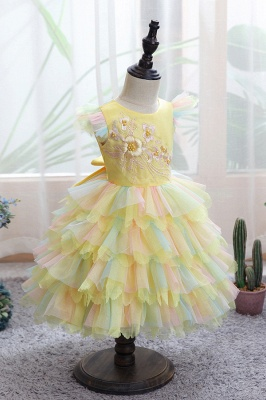 Sleeveless White Tulle Flower Girl Dress Bridesmaid Dresses_6