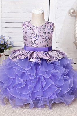 Cute Sleeveless VioletPuffy Flower Girl Dress