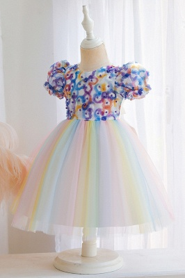 Cap Sleeves Colorful boutique flower girl dresses_6
