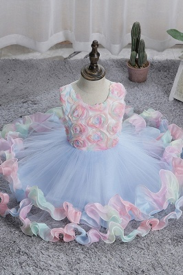 Sleeveless Floral Cute Girl Dresses for Party Wedding_5