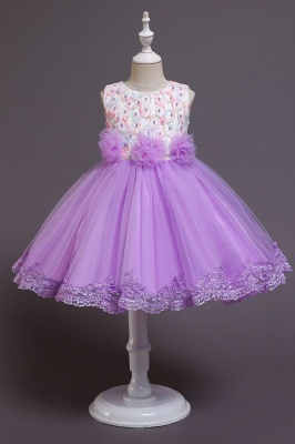Beautiful Sky Blue and Pink Bridal Flower Girl Dresses_2