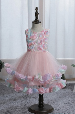 Sleeveless Floral Cute Girl Dresses for Party Wedding_1