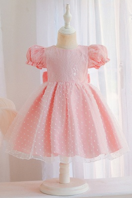 Cap Sleeve Short pink princess flower girl dresses
