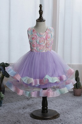 Sleeveless Floral Cute Girl Dresses for Party Wedding_3