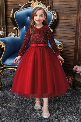 long sleeve lace flower girl dress Burgundy Girls Floral Maxi Dress