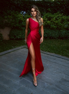 Charming One Shoulder Burgyndy Side Split Prom Evening Dress