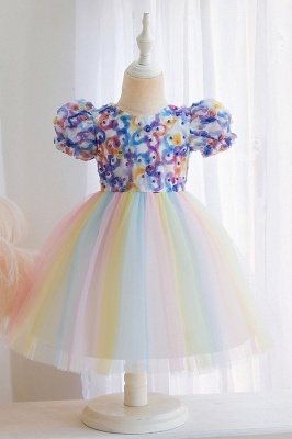 Cap Sleeves Colorful boutique flower girl dresses_2