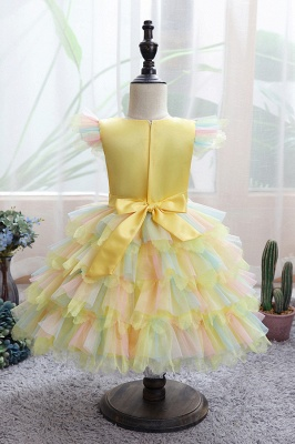 Sleeveless White Tulle Flower Girl Dress Bridesmaid Dresses_5