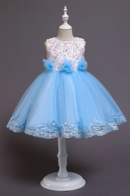 Beautiful Sky Blue and Pink Bridal Flower Girl Dresses_3