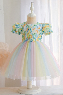 Cap Sleeves Colorful boutique flower girl dresses_3
