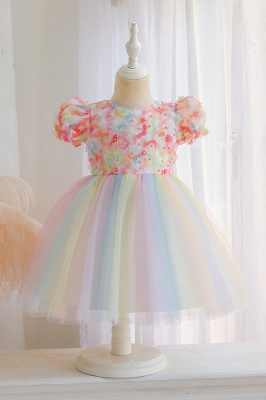 Cap Sleeves Colorful boutique flower girl dresses_1