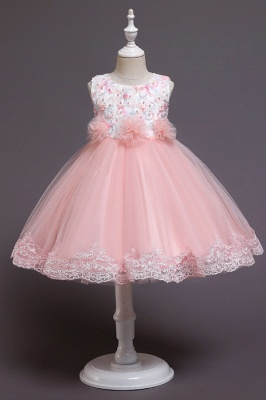 Beautiful Sky Blue and Pink Bridal Flower Girl Dresses_1