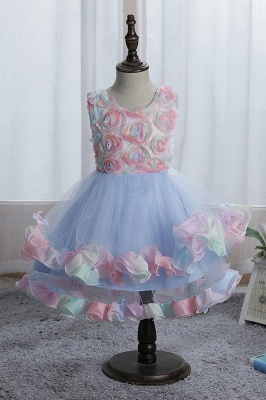 Sleeveless Floral Cute Girl Dresses for Party Wedding_2