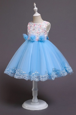 Beautiful Sky Blue and Pink Bridal Flower Girl Dresses_7