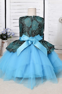 Sleeveless Sky Blue Little Flower Girl Dress for Wedding with Straps_6