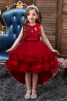 Burgundy Tulle Flower Girl Dresses Hi-Lo Maxi Dress for Kids