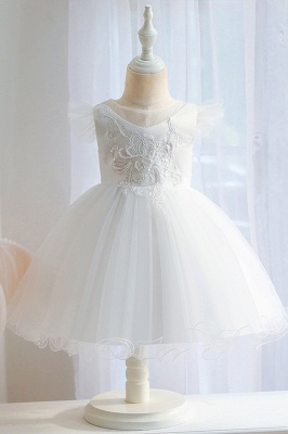 White Tulle Flower Girl Dress Sleeveelss Aline Dress for Kids
