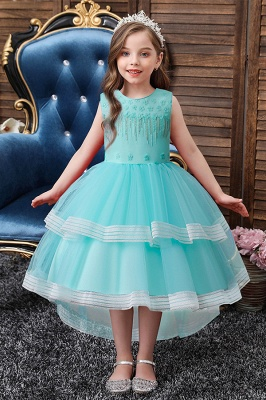 Crew Neck Aline Long Lace Tulle Flower Girl Dresses for Kids