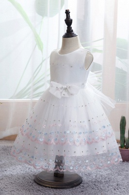 White Sleeveless bridal flower girl dresses_5