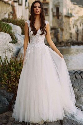 Stylish Sleeveless White Aline Tulle Wedding Dress Lace Bridal Dress_1