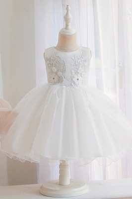 Cute Little Girl White Lace Flower Dress for Kids Wedding
