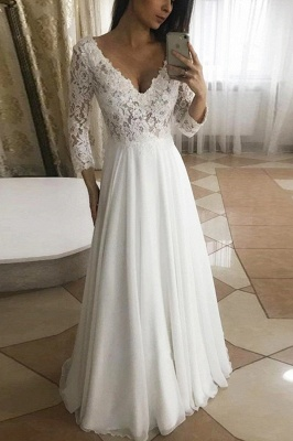 White V-Neck Long Sleeves Chiffon Lace Garden Wedding Dress