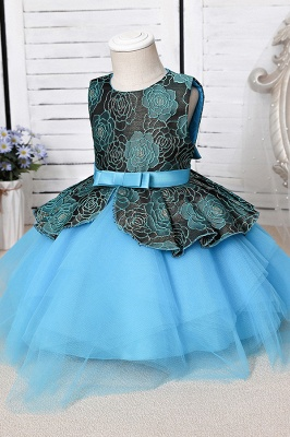 Sleeveless Sky Blue Little Flower Girl Dress for Wedding with Straps_7