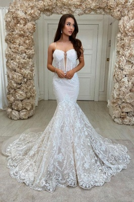 Stylish Sweetheart Mermaid Lace Appliques Wedding Gown
