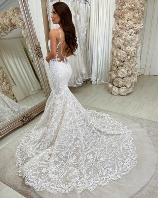 Stylish Sweetheart Mermaid Lace Appliques Wedding Gown_2