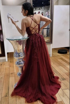 Charming Spaghetti Straps Burgundy Evening Dress with Tulle Lace Appliques_2