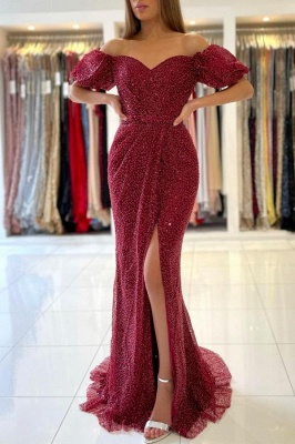 Stunning Off-the-Shoulder Mermaid Evening Gowns with Side Split